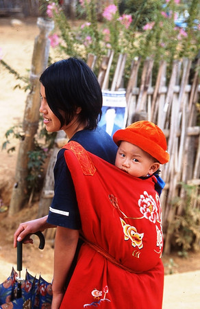 Refugee Burmese Woman and Child in Refugee Camp, Thailand