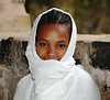 Young Girl Waiting Outside Church in Ethiopia