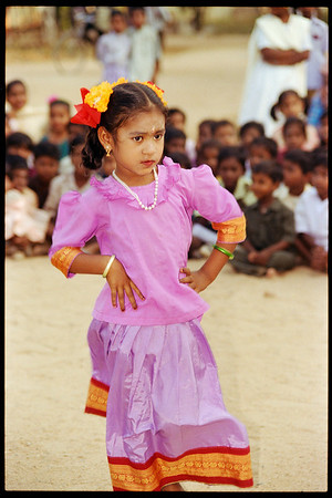 Indian Girl Dancing, Kanchipuram, Tamil Nadu, India