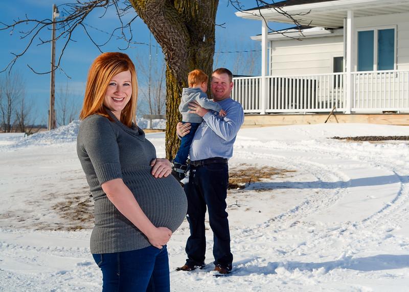 winter farmhouse maternity shoot