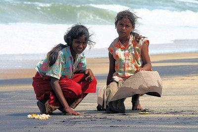 "Indian gypsy sister on Chennie beach. These girls collect sea shells and make key rings. They make about $1 per day.  *+ALL MONEY RAISED FROM SALE OF MY ART, AND DONATIONS MADE VIA OUR CHARITY WEBSITE, GOES TO HELP THESE PRECIOUS CHILDREN. WE TAKE NOTHING OUT OF WHAT YOU GIVE TOWARDS CHARITY OVERHEADS. WE ARE NOT SALARIED AND COVER OUR OWN TRAVEL EXPENSES. SO ALL THAT YOU GIVE GOES TO THESE CHILDREN+*  To make a donation, or find out more, Please visit our Charity Mission website: *""http://www.philadelphia33.org/*"":http://www.philadelphia33.org/"