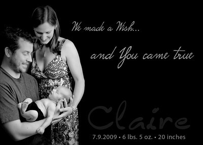 Claire2 5x7 B&W We Made a Wish