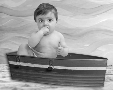 Boy Boat on Fantasy Beach B&W