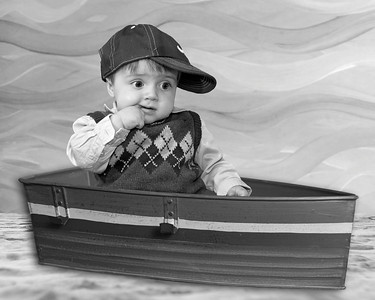 Boy Boat on Fantasy Beach ver2 B&W