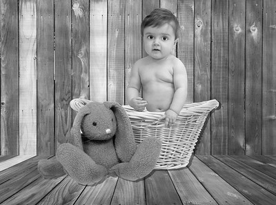 Bunny and Basket B&W