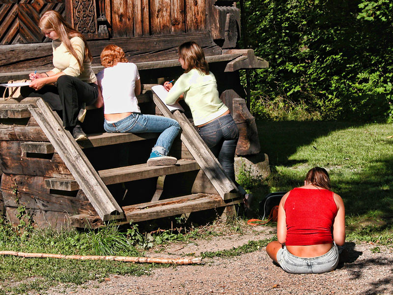 Second year high school students of a girls school on a freehand drawing outdoor class in Oslo, Norway.