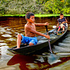 Two boy buddies were following us fo a while when we were going through the chocolate or coffee colored waters of Rio Negro, a tributary of the mighty Amazon River in Brazil.
