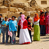 School children in Cairo, Egypt on an educational tour to the Giza Pyramid site.