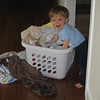 I was getting Chase's laundry ready to wash, but he wanted to play with it first.