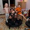 Hannah, Amanda, Ava, Kaitlyn and Aaron on their trampoline.