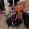 Hannah, Ava, Amanda, Kaitlyn and Aaron on their trampoline.