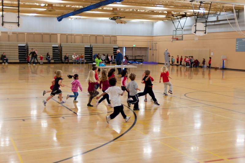 Running sprints during basketball class.