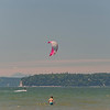 A kite surfer off Jetty Island near Everett