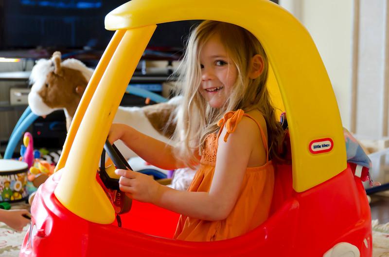Kaitlyn in Ava's new car.