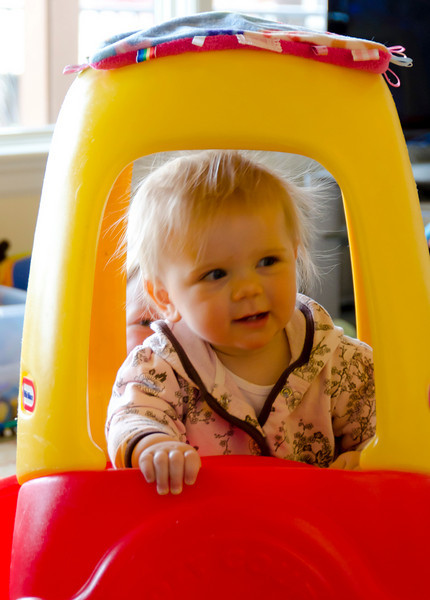 Ava in her new car