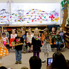 "Aaron, Hannah and Kaitlyn doing the introduction for the ""Three Hawaiian Pigs and the Great White Sharks"" play at the Rainbow Montessori Spring Festival."