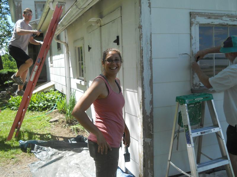 Marissa, Silas Blake on ladder.