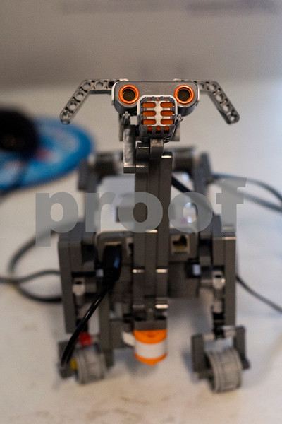 A robot dog built by Savannah Gist, 12, and Liana Miller, 9, sits on a table during a lego robotics summer camp at Discovery Science Place in Tyler, Texas, on Wednesday, June 28, 2017. Students learned teamwork, the basics of coding, as well as design principles for their robots. (Chelsea Purgahn/Tyler Morning Telegraph)
