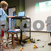 Tate Patrick, 8, works on the computer to connect his robot while Zaden Anderson, 6, watches during a lego robotics summer camp at Discovery Science Place in Tyler, Texas, on Wednesday, June 28, 2017. Students learned teamwork, the basics of coding, as well as design principles for their robots. (Chelsea Purgahn/Tyler Morning Telegraph)