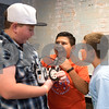 From left to right, Ryan Smith, 10, Jonathan Taylor, 11, and Haedyn Quarles, 9, play with a robot during a lego robotics summer camp at Discovery Science Place in Tyler, Texas, on Wednesday, June 28, 2017. Students learned teamwork, the basics of coding, as well as design principles for their robots. (Chelsea Purgahn/Tyler Morning Telegraph)
