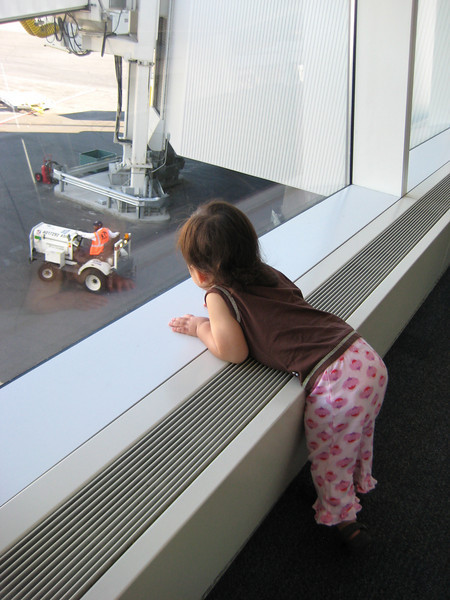 JFK--she was very excited about all the airplanes.