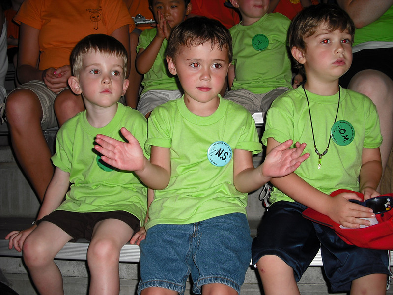 Waiting for the dolphin show - Alex, Nolan, and Oslo 6/26