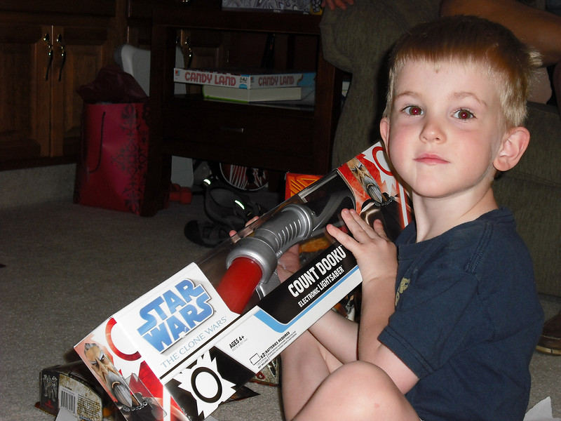 Alex happy with his new Lightsaber from The Greats! - 6/27