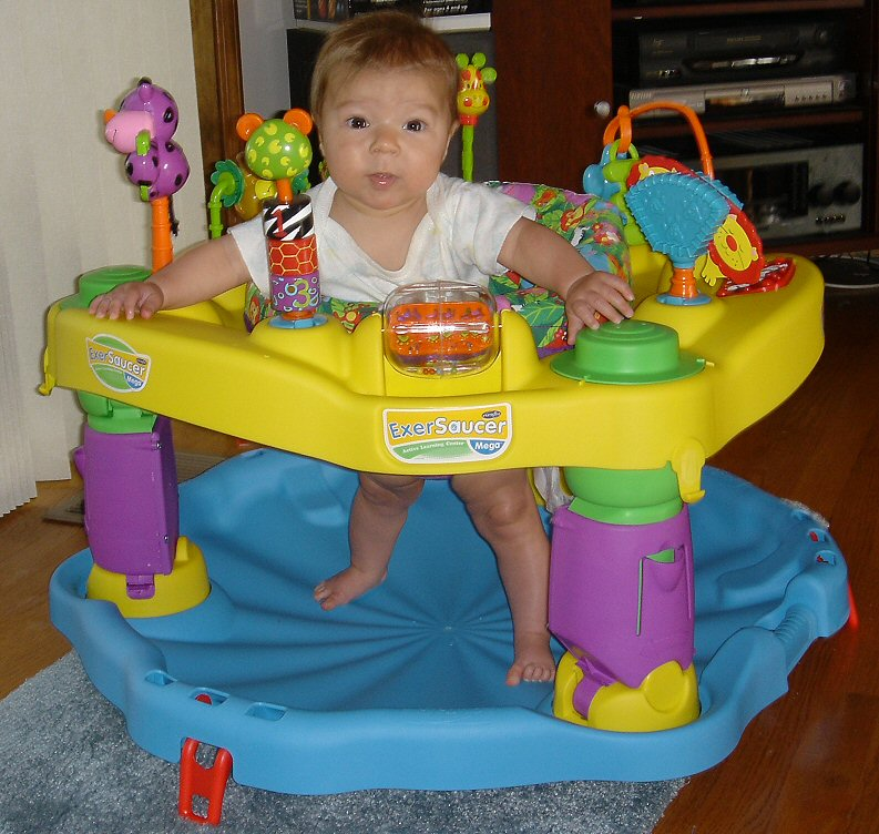 Enjoying her new exersaucer