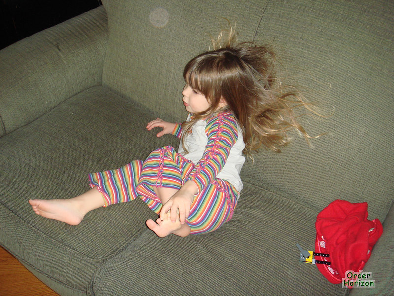 Alice's hair sticks to the couch