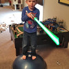 Chase practices his Jedi skills on the Bosu ball.