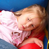 Elise falls out of the Bouncy Room and on to the red ramp.  It was a soft landing.
