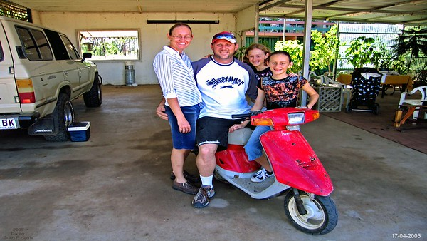 Lee, Nell, daughters. Keiths Jog scooter and Cruiser wagon.
