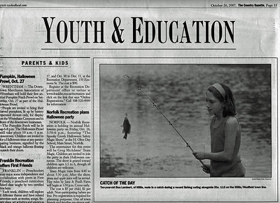 The Country Gazette publishes pic of Bea fishing one day on rte. 115. The fish did get away!