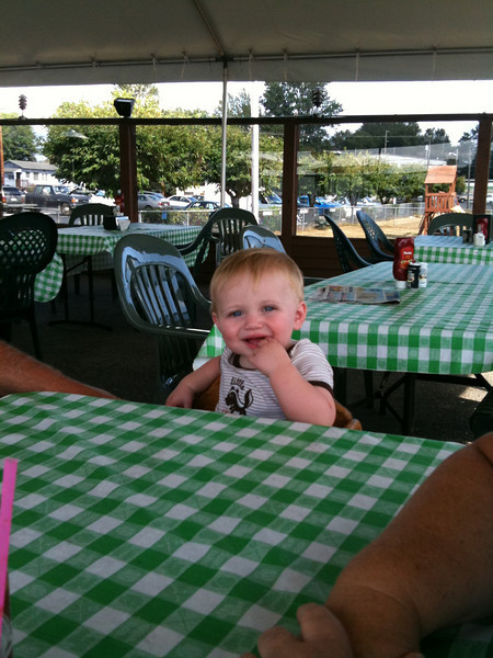 Eating lunch at the Snohomish airport with Grandma and Grandpa Johnson