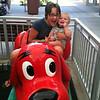"Zoe and Ben, on Ben's first kiddie ""ride"""