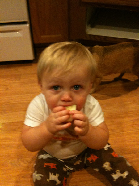 Loving his apple