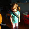 Catherine models her backpack: front
