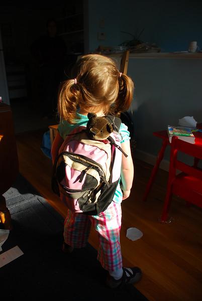 Catherine models her backpack: back