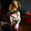 Catherine models her backpack: back