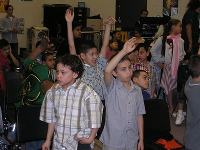Boys respond during the altar call
