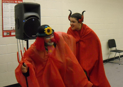 Devil is angry at his general for letting Jesus escape from the grave during skit: Don't let Jesus come out of the grave.