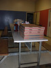 10 pizzas ready for the kids.