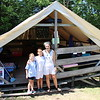 Kate's tent, with fellow camper Lulu and counselor Eliza (two more campers arrived later)