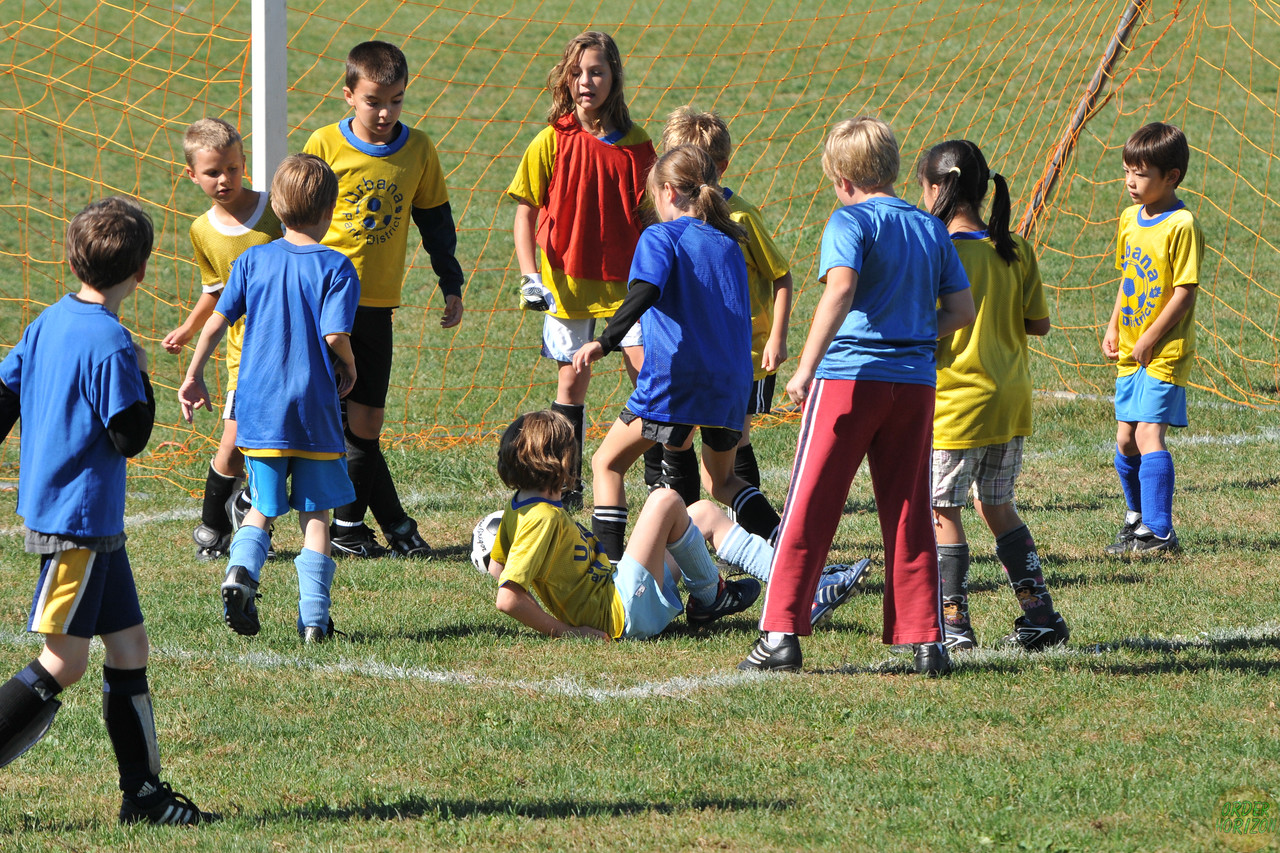 One of the many goal scrums. No goal was scored.