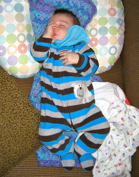 the thumb is a savior!  even if he gets fussy, if you just let him go for a bit, he finds his thumb and relaxes himself.
