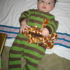 we opened a few presents before we went up to illinois and the giraffe from uncle jeff was a huge hit!