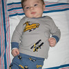 Looking adorable in the airplane pj's from Ed and Betty.  This little shirt is so cute.  He truly is Mr. Adorable!!!