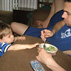 """Can I have some, Daddy?""  Chase is more interested in the food we eat."