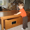 Chase's likes his new table.  He likes to stand at it and bang his hands on top.