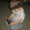 Chase is enjoying his iPhone.  (Kenny's old iPhone 3)